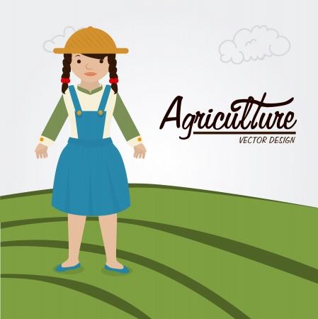 agriculture label over landscape background vector illustration  Vector