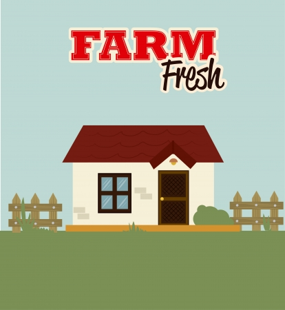 farm fresh label over field  background vector illustration Vector