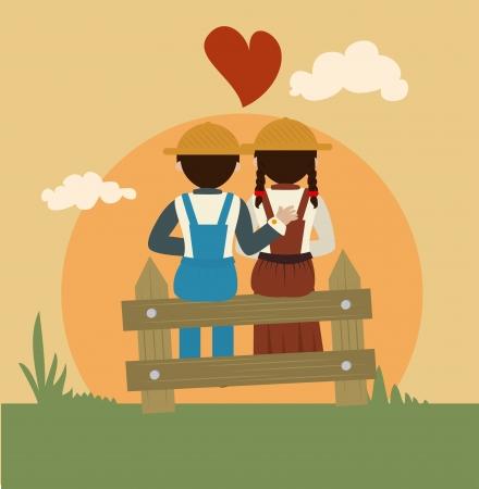 peasant woman: farm fresh label over landscape  background vector illustration  Illustration