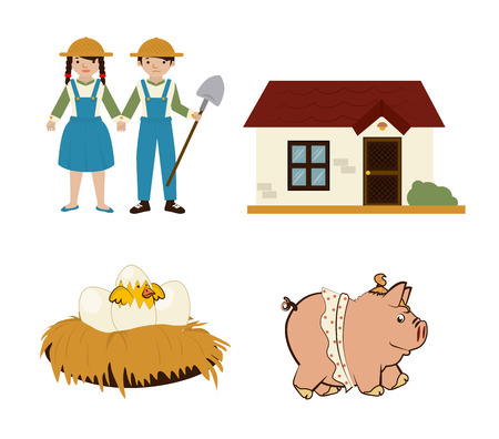 peasant woman: agriculture icons over white background vector illustration