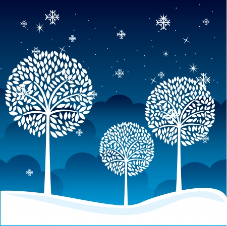 sky night: winter landscape over sky night  background. vector illustration Illustration