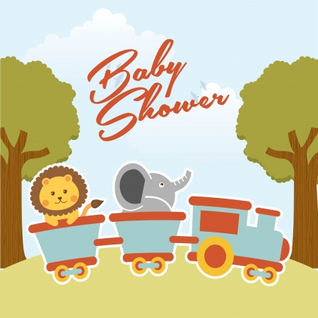 mountain lions: baby shower design over landscape background vector illustration