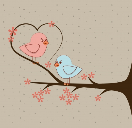 love birds over beige background vector illustration Vector
