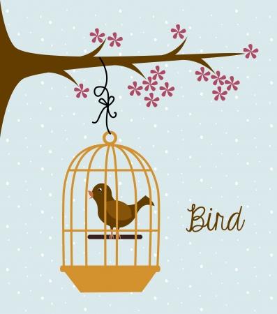 bird design over blue background vector illustration Vector
