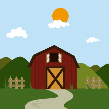 farm fresh label over field  background vector illustration Vector
