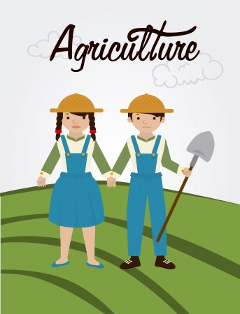 peasant woman: agriculture label over field  background vector illustration