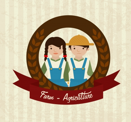 agriculture label over lineal  background vector illustration  Vector