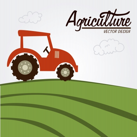 agriculture label over field background vector illustration  Vector