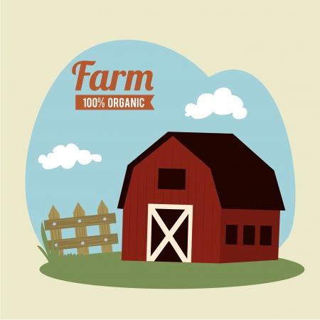 farm fresh label over beige  background vector illustration Vector