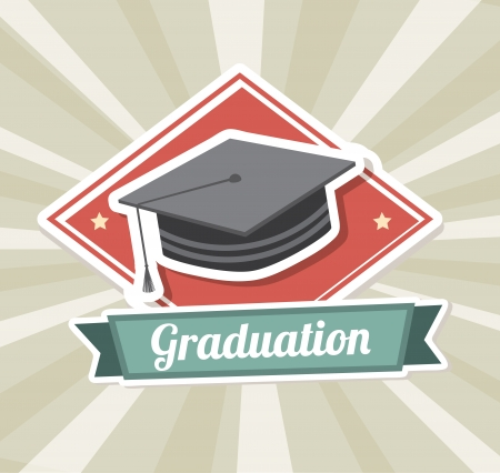 graduation label over  grunge background vector illustration  Vector