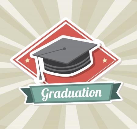 graduation party: graduation label over  grunge background vector illustration