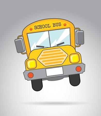ir al colegio: icono de autobús escolar más de fondo gris ilustración vectorial Vectores