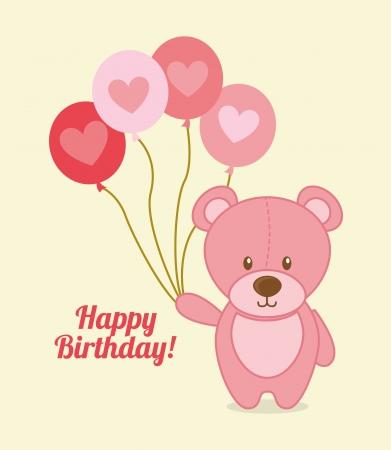 happy birthday design over pink   background vector illustration Stock Vector - 23761915