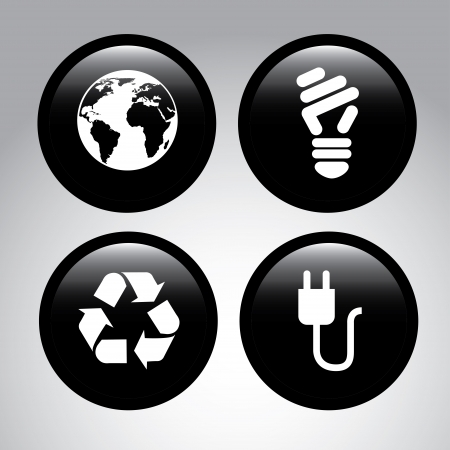 eco energy icons over gray background vector illustration  Vector