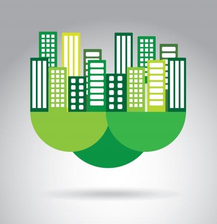 conception de ville écologique sur fond gris illustration vectorielle
