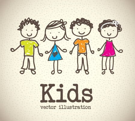 happy kids: kids icons over pattern background  vector illustration
