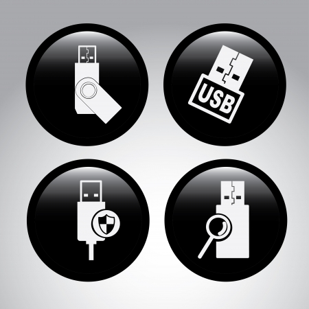 usb connection over gray background vector illustration Stock Vector - 23762082