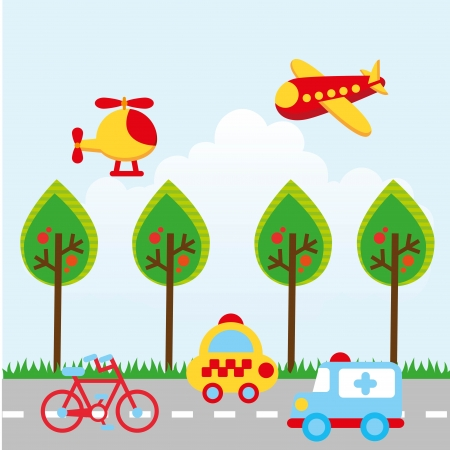 transport design over sky  background vector illustration Vector