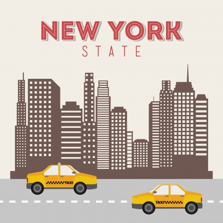 new cab: new york design over beige background vector illustration