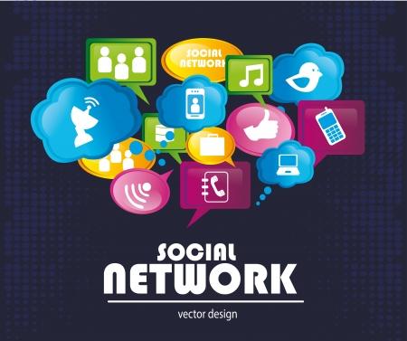Sociale netwerk pictogrammen op blauwe achtergrond vector illustratie Stockfoto - 23762525