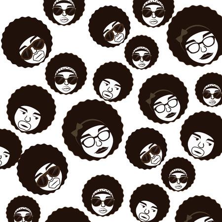 types of glasses: afro style design over white background vector illustration  Illustration