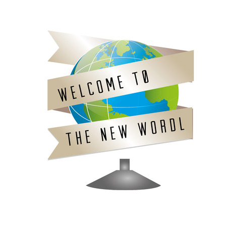 new world   over white background vector illustration  Vector