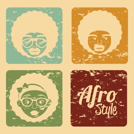 afro style design over  cream background vector illustration  Vector