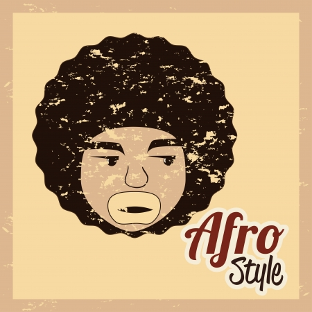 afro style design over cream white background vector illustration  Vector