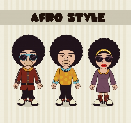 afro style design over lineal background vector illustration