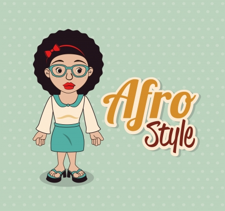 afro style design over dotted background vector illustration  Vector