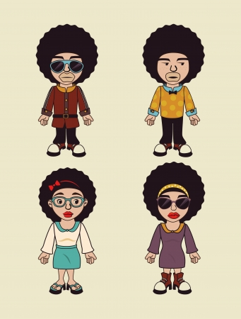 afro style design over beige background vector illustration  Vector