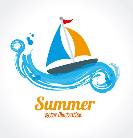 summer design over white  and blue background vector illustration