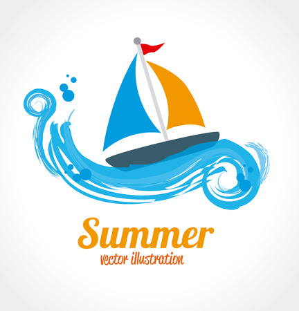 oceans: summer design over white  and blue background vector illustration