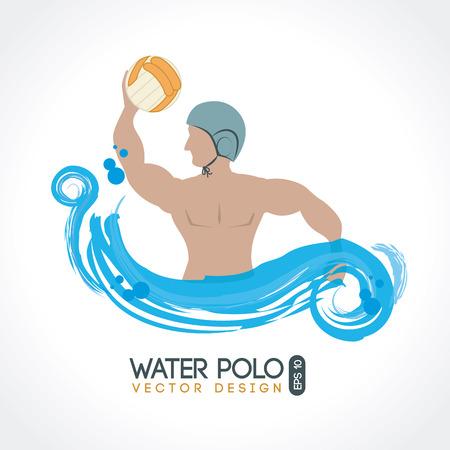 water polo: diseño del water polo sobre fondo blanco ilustración vectorial