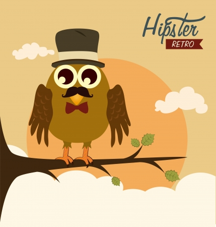 owl design over landscape background vector illustration Vector