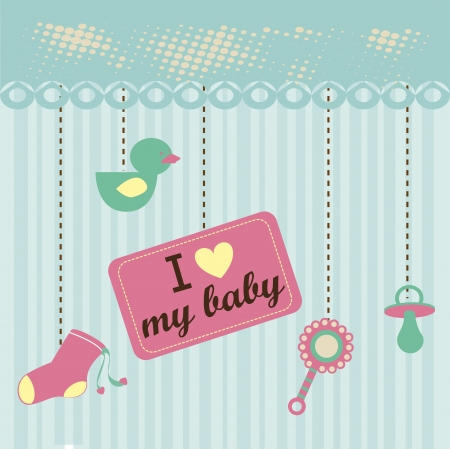 baby design over  pattern background vector illustration    Vector