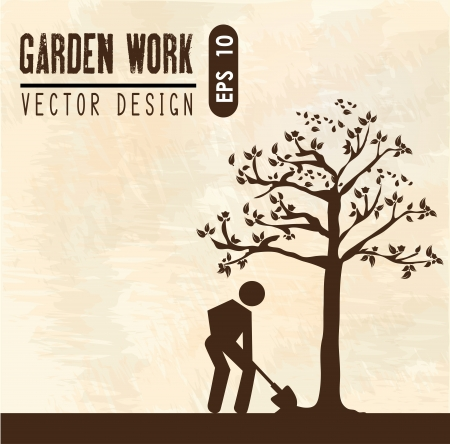 garden work over pink landscape vector illustration  Vector