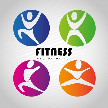 group fitness: fitness design over gray  background vector illustration