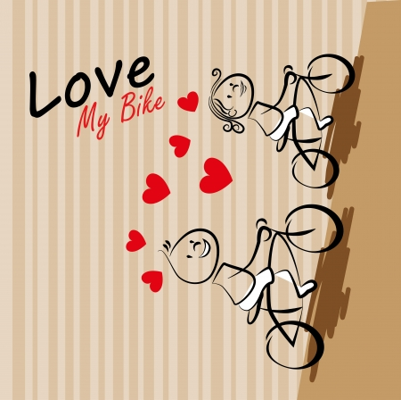 i love my bike over lineal background vector illustration Vector