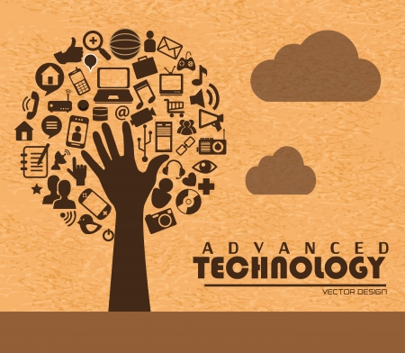advanced technology: advanced technology over pink background vector illustration Illustration