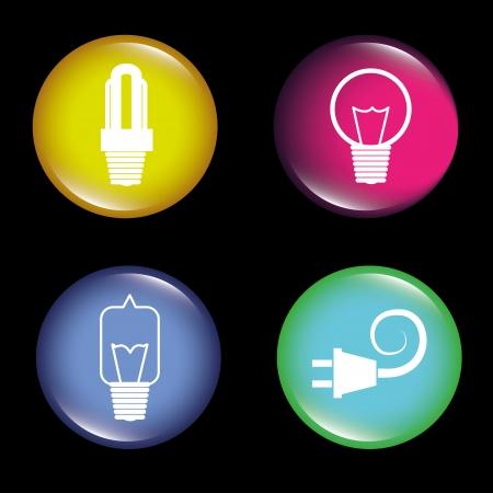 conection: bombillas de energ�a sobre fondo negro ilustraci�n vectorial Vectores