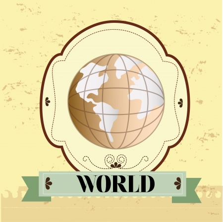 world design  over rustic background. vector illustration Vector