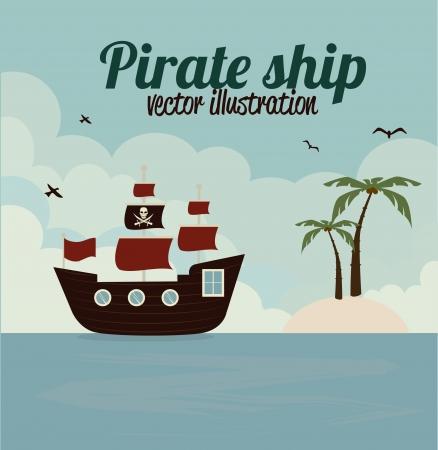 barco pirata: dise�o pirata sobre el paisaje de fondo ilustraci�n vectorial