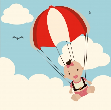 baby arrival design over sky background vector illustration   Vector
