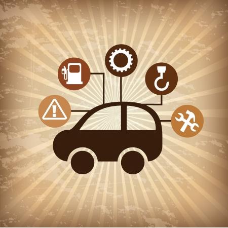 rectify: tenuta riparazione auto su sfondo grunge illustrazione vettoriale Vettoriali