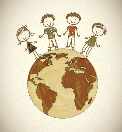 camaraderie: kids design over pattern background vector illustration