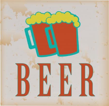 Beers label over vintage background vector illustration Stock Vector - 23998348