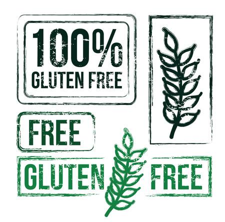preservatives: 100 percent free gluten over white background vector illustration   Illustration