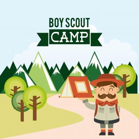 camping ontwerp over hemel achtergrond vector illustratie Vector Illustratie