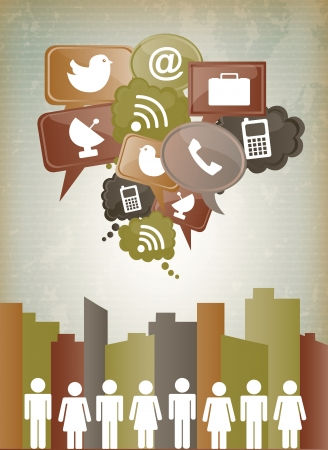 antena: social network icons over vintage  background vector illustration